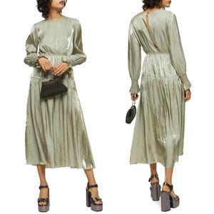 NEW TOPSHOP Smocked Long Sleeve Midi Dress US 10